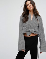House Of Sunny Tie Front Crop Top With Long Sleeves Multi