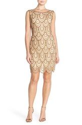 Petite Women's Pisarro Nights Embellished Mesh Cocktail Dress Gold