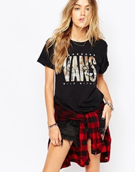 Vans Oversized Boyfriend T Shirt With Graffiti Text Logo Black