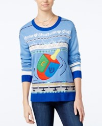 Hooked Up By Iot Juniors' Dreidel Holiday Sweater Davids Blue