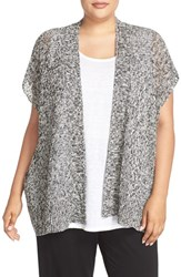 Eileen Fisher Plus Size Women's Open Stitch Short Sleeve Cardigan