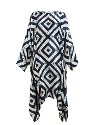 Eskandar Expanding Squares Shibori Dyed Silk Dress Navy White