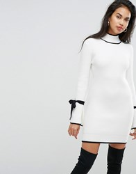Morgan Knitted Swing Dress With Contrast Tie Detail In White