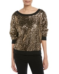Ella Moss Disco Sequined Pullover Sweatshirt Gold
