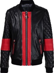 Philipp Plein Leather Quilted Sleeve Bomber Black