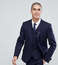 Heart And Dagger Slim Stretch Suit Jacket In Tweed Check Navy