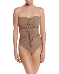 Karla Colletto Fringe Front Bandeau One Piece Swimsuit Latte