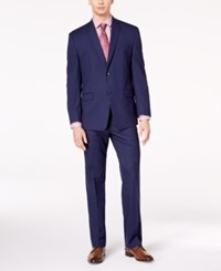 Marc New York By Andrew Men's Classic Fit Stretch Dark Blue Pinstripe Suit
