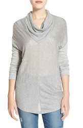 Petite Women's Halogen Mitered Rib Knit Cowl Neck Top Light Heather Grey