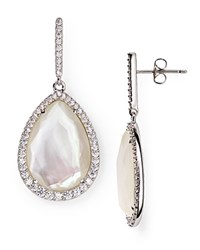 Nadri Sterling Mother Of Pearl Teardrop Earrings White