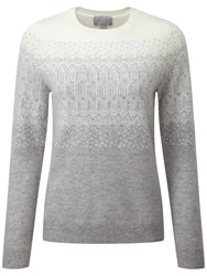 Pure Collection Everly Fairisle Cashmere Jumper Heather Dove Soft White