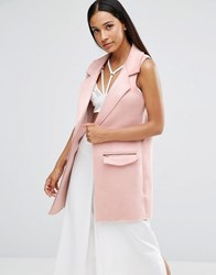 Ax Paris Sleeveless Faux Suede Jacket Pink