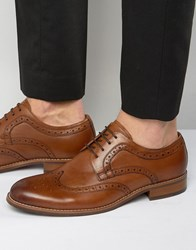 Dune Radcliffe Leather Derby Brogue Shoes Tan