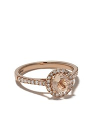 Astley Clarke 14Kt Rose Gold Halo Tearoom Morganite Oval Cut Stone And