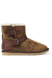 Australia Luxe Collective Woman Buckled Leather Trimmed Burnished Shearling Ankle Boots Camel