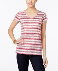 Styleandco. Style Co. Petite Paisley Striped T Shirt Only At Macy's Pale Raspberry Pink