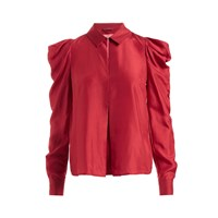 Wtr Stella Draped Shoulder Silk Top Red