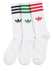 Adidas 3 Pairs Logo Cotton Blend Crew Socks