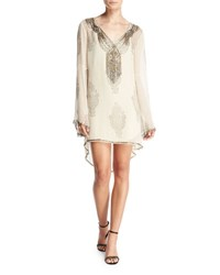 Haute Hippie Getty Beaded Paisley Silk Shift Dress Antique