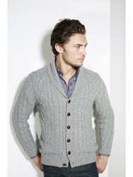 Johnstons Of Elgin Cashmere Cable Cardigan Grey