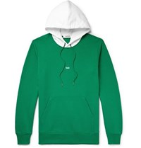 Helmut Lang Taxi Tokyo Two Tone Logo Print Loopback Cotton Jersey Hoodie Green