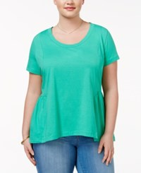 American Rag Trendy Plus Size Cotton Peplum T Shirt Only At Macy's Gumdrop Green