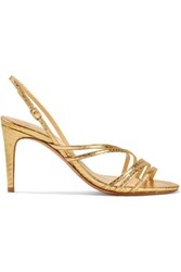 Alexandre Birman Shanty Watersnake Slingback Sandals Gold