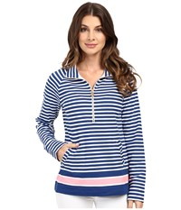 Lilly Pulitzer Skipper Popover Guava Melon Exotic Garden Engineered Women's Long Sleeve Pullover Blue