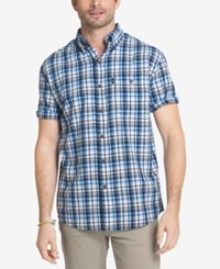 G.H. Bass And Co. Men's Plaid Explorer Fishing Shirt Blue Skydiver