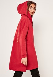 Missguided Red Slogan Zip Front Oversized Hoody
