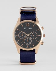 Reclaimed Vintage Chronograph Canvas Watch In Navy Navy