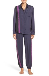 Dkny Women's Satin Pajamas Purple Grey