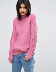 Asos High Neck Jumper With Cable Sleeves Bubblegum Pink