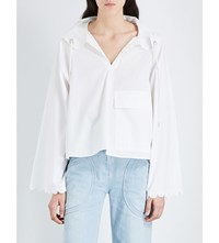 See By Chloe Hooded Cotton Poplin Shirt Cloud Dancer