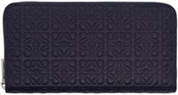 Loewe Navy Zip Around Anagram Wallet