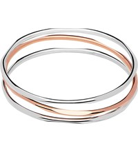 Links Of London 20 20 Three Loop Sterling Silver And 18Ct Rose Gold Bangle Mixed Metal
