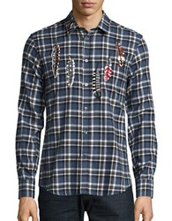 Paul And Joe Embroidered Flannel Sportshirt Blue