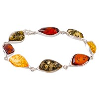Be Jewelled Amber Sterling Silver Bracelet Multi