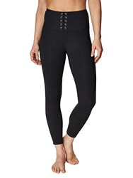 Betsey Johnson High Rise Lace Up Leggings Black