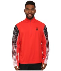 Spyder Webstrong Dry W.E.B.Tm T Neck Top Volcano Black White Long Sleeve Pullover Red
