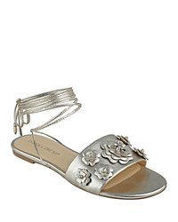 Ivanka Trump Catera Metallic Floral Ankle Wrap Sandals Gold
