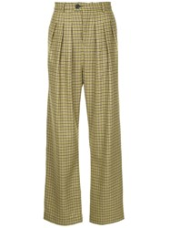 Strateas Carlucci Flared Check Trousers Green