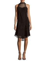 Haute Hippie High Neck Sleeveless Silk Dress Black