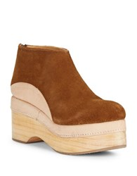 Free People Camilla Suede And Leather Platform Booties Brown