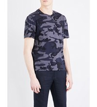 Sandro Camouflage Cotton Jersey T Shirt Navy Blue