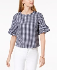 Maison Jules Cotton Ruffled Sleeve Top Navy White Gingham