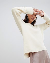 Selected Femme Boat Neck Wide Cuff Sweater Cream