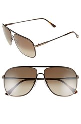 Women's Tom Ford 'Dominic' 60Mm Aviator Sunglasses Dark Brown Gradient Roviex