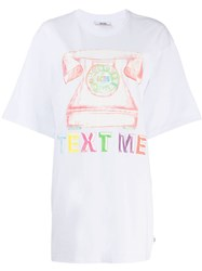 Gcds Printed Oversized T Shirt White