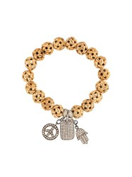 Loree Rodkin Carved Wood Diamond Charm Bracelet Nude And Neutrals